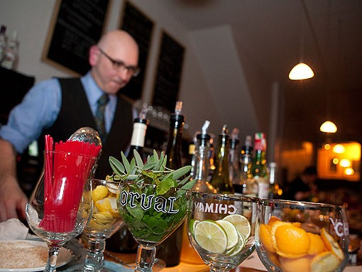 """Mixologist Ted Kilgore of Taste by Niche, who presides over St. Louis' """"Best Drink Menu,"""" according to the '09 RFT Best Of St. Louis issue. - PHOTO: STEW SMITH"""
