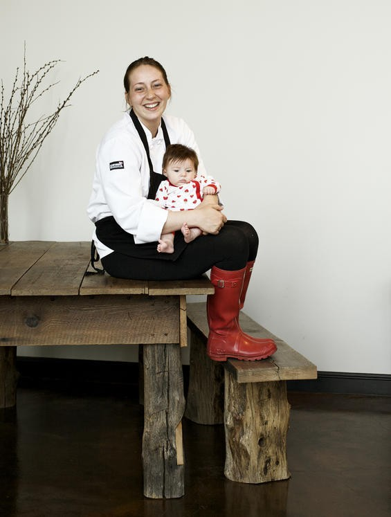 BitterSweet Bakery owner Leanna Russo with 3-month-old daughter Valentine - JENNIFER SILVERBERG