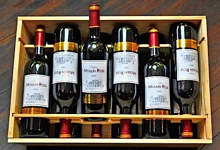 A case of Château du Moulin Rose from the 2000 vintage, lookin' mighty tasty.