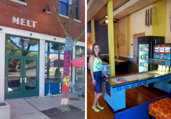 The exterior of Melt (left) includes several yarn-bombed trees. Melt general manager Britt Bauer (right) about to play a round of Skee-Bowling in the cafe. - LIZ MILLER