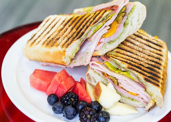 R-Cafe's Italian panini with Genoa salami, pepperoni, turkey breast, ham, mozzarella, provolone, cheddar, pepperoncini, olives and pesto. | Photos by Mabel Suen