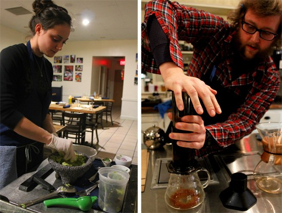 A MEDIAnoche chef prepares guacamole tableside; front of house manager Jeffrey Moll brews a cup of artisan coffee using an AeroPress. - MABEL SUEN