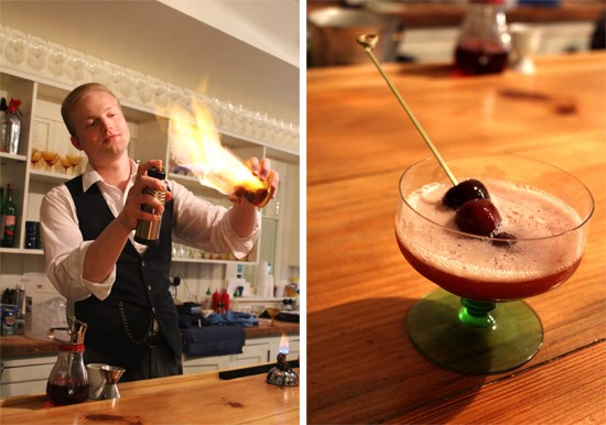 "T.S. Ferguson prepares his ""Last Evening on Earth"" featuring Mezcal, Cherry Heering and lemon. - MABEL SUEN"