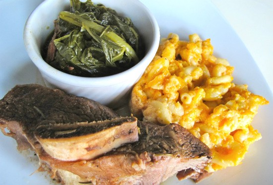 The short ribs with mac and cheese and turkey with collard greens at Soho. - REASE KIRCHNER