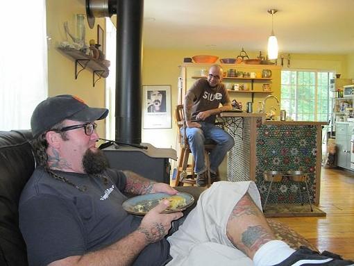 Matt Herren (foreground) and Goshen Coffee's DJ Fisher - ROBIN WHEELER