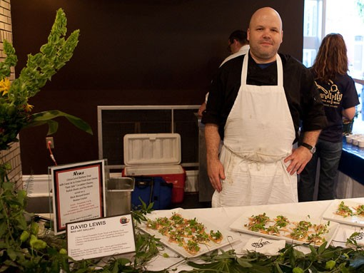David Lewis of the Mad Art Gallery with citrus-cured Troutdale Farm trout with Baetje goat cheese, fresh Claverach Farm cucumber-pickled ginger chutney and radish shoots on a black-mustard-seed cracker. - PHOTO: STEW SMITH