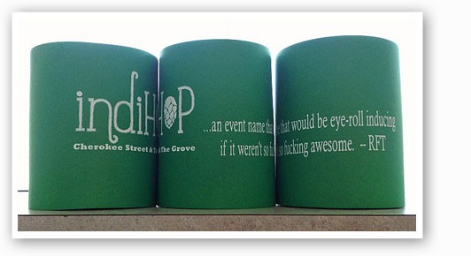 &nbspLike a misprinted stamp, this IndiHop koozie is sure to be a collector's item.