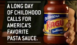 Does one of Gut Check's slogans more accurately capture the spirit of Ragù's commercial?