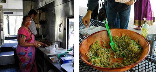 Krupa's mother-in-law cooking in the truck and bhel, a puffed rice snack | Kaitlin Steinberg
