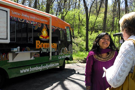 Krupa Panchal in front of her new food truck, Bombay Food Junkies | Kaitlin Steinberg