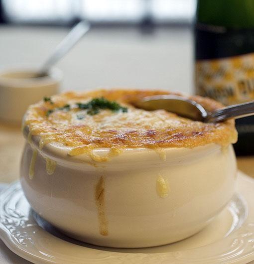 The onion soup at Brasserie by Niche - JENNIFER SILVERBERG