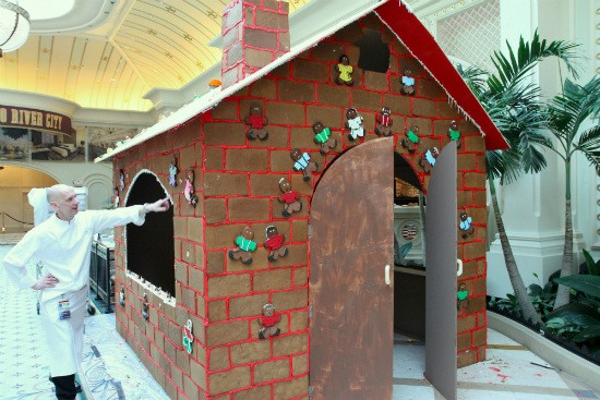 The life-sized, dine-in gingerbread house at River City Casino. - IMAGE VIA