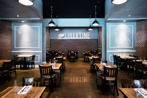 """The dining room at the Libertine -- a """"neighborhood eatery"""" in Clayton -- which opened in May. - JENNIFER SILVERBERG"""