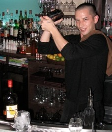 Araka Bar Manager Tim Kosuge mixes an Autumnal for Gut Check. - STEPHEN FAIRBANKS