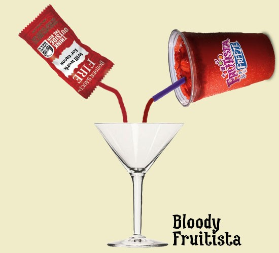 """Introducing the """"Bloody Fruitista"""" a la Gut Check: Taco Bell """"Strawberry Fruitista Freeze"""" mixed with """"Fire"""" sauce. (Great with vodka!) - RFT PHOTO"""