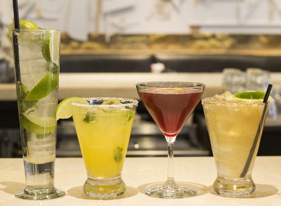 "Cantina Laredo's drinks are stiff: the Mojito, ""Ginger Mint Mango Rita,""  ""Aphrodite Rita"" and ""Cabo Flip."" 
