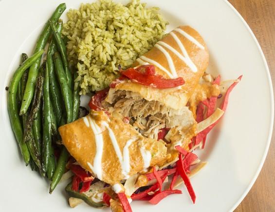 """Enchiladas De Cangrejo"": lump crab enchiladas with spicy chili de arbol cream sauce on a bed of vinaigrette marinated vegetables. | Mabel Suen"