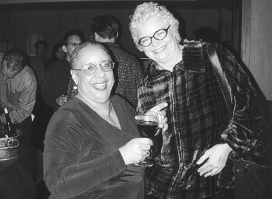 Ellen Sweets, author of Stirring it Up with Molly Ivins, with the late, great Ms. Ivins herself. - COURTESY OF ELLEN SWEETS AND UT PRESS