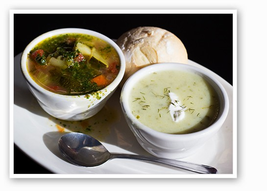 Vegetable pesto soup and Polish dill pickle soup.   Mabel Suen