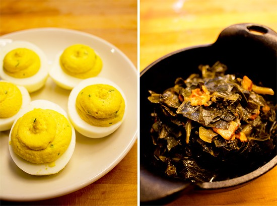 Deviled eggs; bacon braised greens. - MABEL SUEN