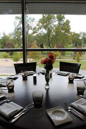 A view of Forest Park from a dining table at Bixby's. - MABEL SUEN