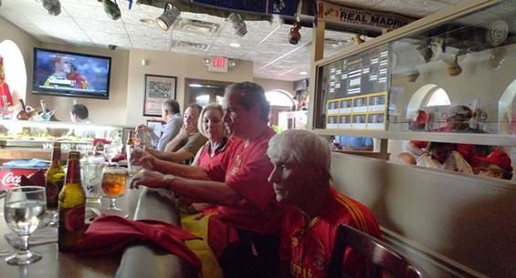 Nervous Spain fans just before the start of the match.