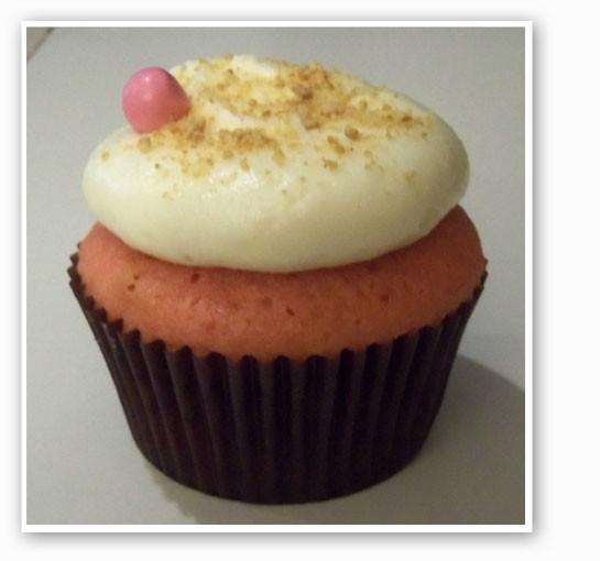 A strawberry cheesecake cupcake at Sarah's. | Emily Wasserman