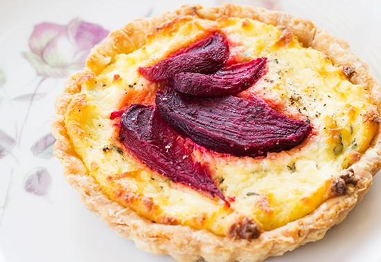 Savory beet pastry.