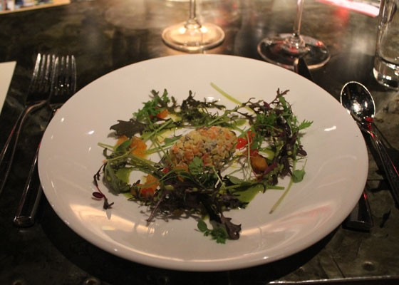 Lentil Baetje Farms goat cheese salad with young mustard greens and pistou vinaigrette. | Nancy Stiles