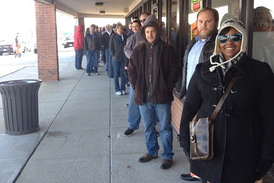 The line outside Wolfbrau at opening on Black Friday. - RYAN WOLF