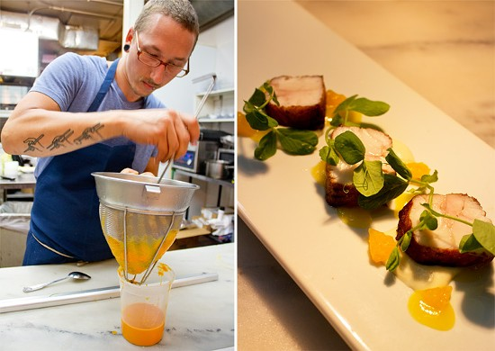 (Left) Chef de cuisine Dale Beauchamp prepares carrot puree cooked sous vide in carrot juice with ginger and green cardamom. (Right) A seared walleye dish. - MABEL SUEN