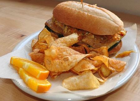 Organic banh mi sandwich at Local Harvest Cafe.   Tara Mahadevan