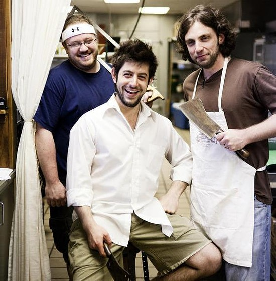 From left to right are Cary Exler and Salume Beddu co-owners Ben Poremba and Mark Sanfilippo. - JENNIFER SILVERBERG