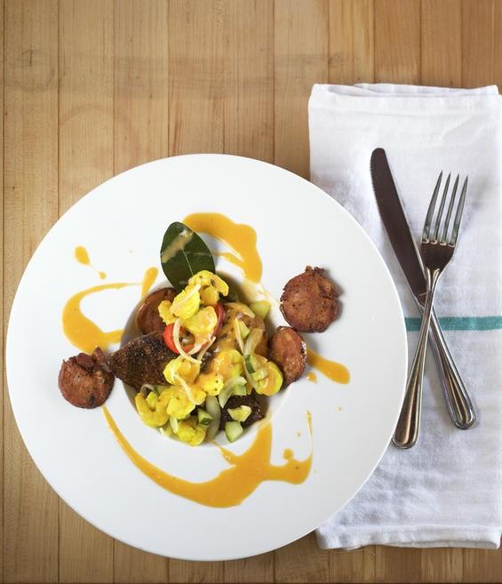 Blackened mahi mahi with spoonbread and Best Stop andouille - JENNIFER SILVERBERG