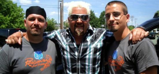 Guy Fieri at Hwy 61 Roadhouse during filming in June 2012. - IMAGE VIA