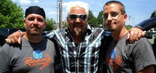 Guy Fieri at Hwy 61 Roadhouse during filming in June 2012. - IMAGE VIA