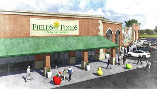 A rendering of the future grocery near Lafayette Square.   Fields Foods