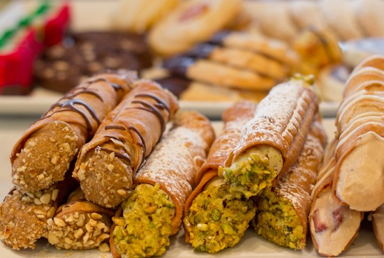 Espresso hazelnut, pistachio and strawberry cannolis. - MABEL SUEN