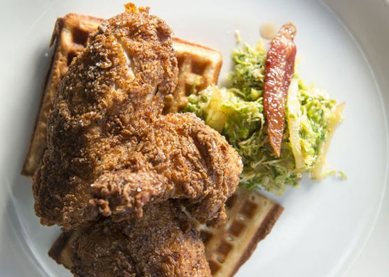 Fried chicken and waffles at Element. | Corey Woodruff