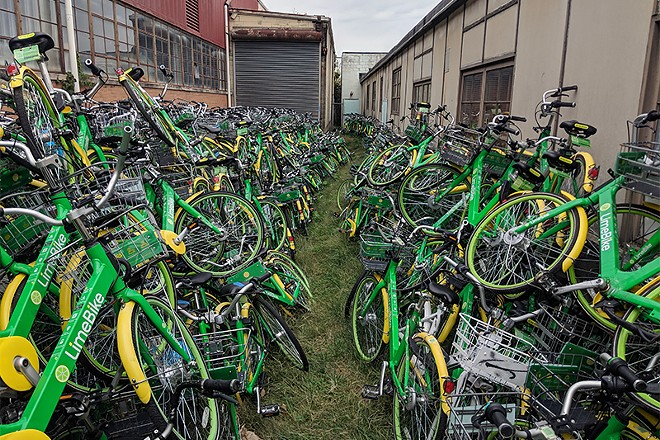 This isn't a bike graveyard, Lime insists, but more of a hospital waiting room. - DANNY WICENTOWSKI