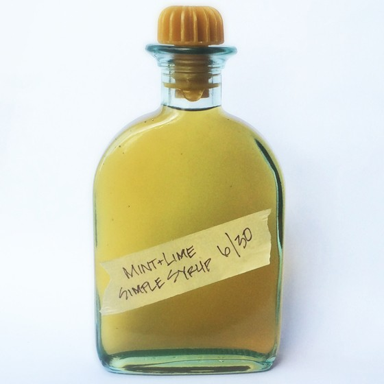 A bottle of mint and lime-zest infused simple syrup. | Patrick J. Hurley