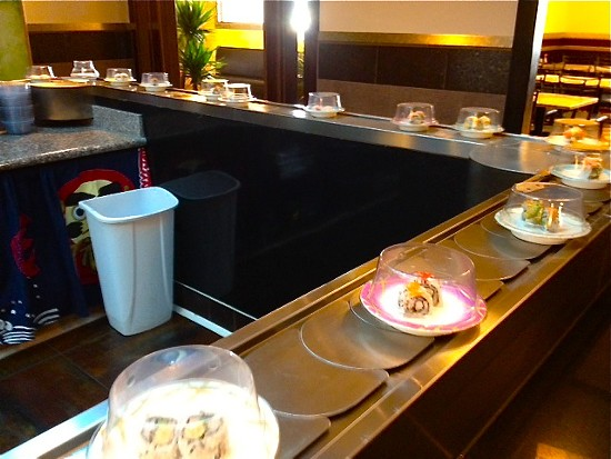 The sushi conveyor belt in action at Tokyo Seafood Buffet - IAN FROEB