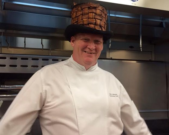 River City Casino's chef John Johnson in his signature bacon hat. | With complements of River City Casino