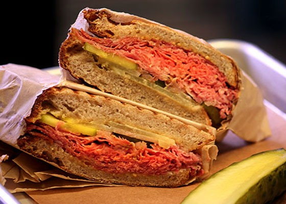 The pastrami sandwich at the Market at the Cheshire. | Kaitlin Steinberg