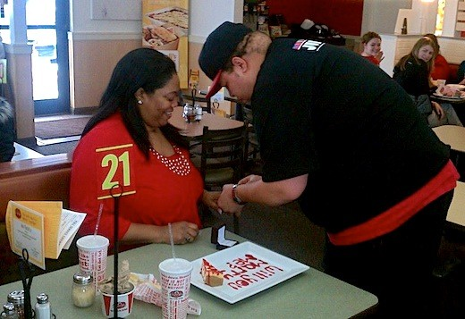 A real proposal at Fazoli's on Valentine's Day.