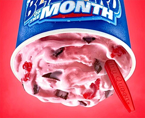 A Dairy Queen Choco Covered Strawberry Blizzard.