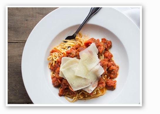 Spaghetti with Neapolitan meatballs, toasted pine nuts.   Jennifer Silverberg