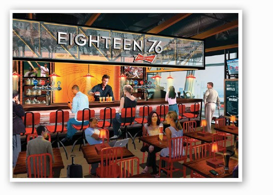 Rendering of the inside of Eighteen-76. | HMS Host