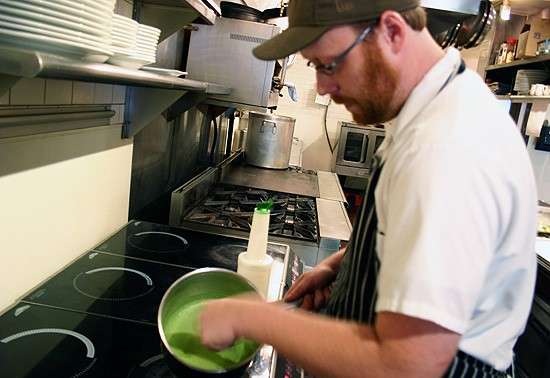 """This man """"loves offal."""" Thankfully, he opted to make English pea soup for us instead. - KATIE MOULTON"""