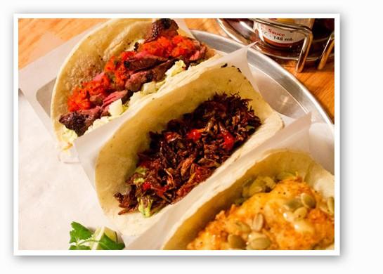 The chapulines taco at Gringo (center): sauteed grasshopper.   Mabel Suen